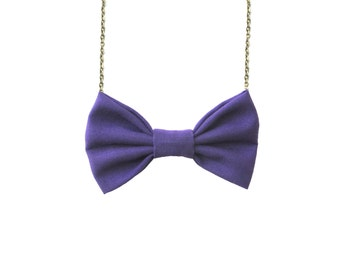 Purple Bow Tie Necklace, Women Casual Bowtie, Party Favor, Bridesmaids Accessories