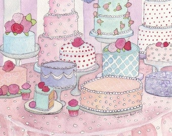 Cakes Watercolor Painting Art Dessert Table no. 2 Print - Colorful Food Illustration Still Life Watercolor Painting - 11x14 Print