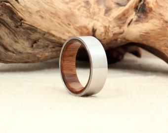 USS North Carolina Deck Teak and Cobalt Wood Ring