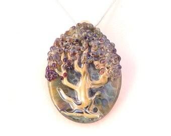 TREE OF LIFE Jubilant Glass Lampwork Borosilicate Art Pendant on Sterling Silver or Satin Necklace Woodland Fantasy Jewlery Free Shipping