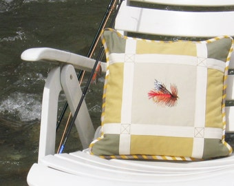 "Square Pillow The Fishing Flies No 1 Fishing Day Collection 14"" x 14"" Khaki Yellow Beige Chic Lodge decor Cabin Sport Nature Fisherman"