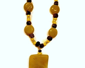 Chartreuse Green Serpentine Stone Hand Beaded Necklace with Wood and Lemon Yellow Glass Seed Beads
