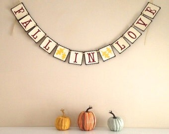 Fall in Love Paper Banner - Fall Wedding Decoration - Autumn Wedding Garland - Bridal Shower Decoration - Engagement Photo Prop - Fall Photo