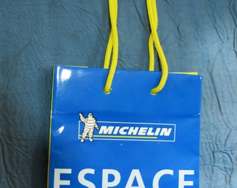 Small Authentic 90s New Never Used Blue MICHELIN ESPACE BIBENDUM Shopping Bag, Gift Bag, Carrier - from Michelin's boutique in Paris, France