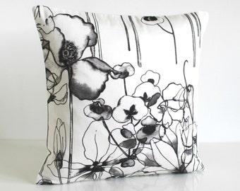 Accent Pillow Cover, Pillow Sham, 16x16 Pillow Cover, 16 Inch Pillowcase, Pillow Covers, Throw Pillows - Watercolour Flowers Monochrome