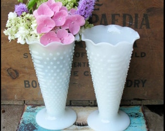 Vintage Milk Glass Hobnail Wedding Vases/  Shabby Chic Elegance
