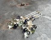 Prasiolite Iolite Cascade Earrings Waterfall Cluster Blue Green Amethyst Gemstone Sterling Silver