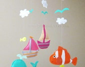 """Baby Mobile - Nemo Fish Crib Mobile - Handmade Nursery Mobile - """"Colorful Under the sea"""" (Match your bedding)"""