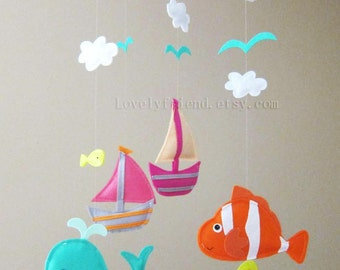 "Baby Mobile - Nemo Fish Crib Mobile - Handmade Nursery Mobile - ""Colorful Under the sea"" (Match your bedding)"