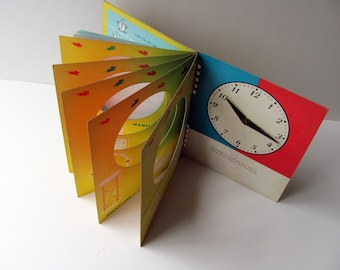 Vintage Tell Time Book Clock Book Learn Tell Time Movable Hands Childrens Activity Cut Out Overlay Pages 1950s School Illustrated Room Decor