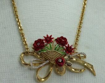 Vintage Red Gold Flower Metal Rhinestone Assemblage Statement Bib Necklace Handcrafted OOAK