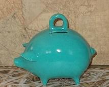 Ceramic Piggy Bank  - Turquoise