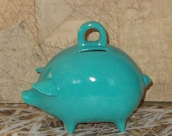 Ceramic Piggy Bank  - Turquoise