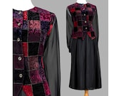 90s Party Dress - Grunge Dress - Sheer Black Dress - Patchwork Velvet Two Piece Dress Set - 1990s Outfit - 90s Dress