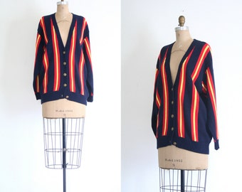 1980s striped cardigan sweater - vintage 80s preppy / School Girl - lolita / red & navy stripes