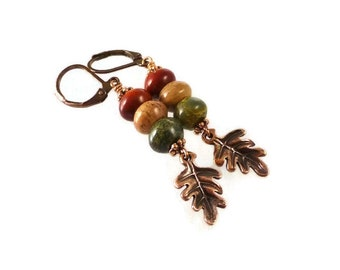 Oak Leaf Earrings, Fall Earrings, Jasper Earrings, Dangle, Copper, Autumn, Bohemian