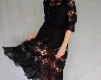 1970's, Bohemian Hand Crocheted Black Dress
