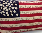 SCOFG, Hand Embroidered, Flag, Americana, Pillow, Home Decor