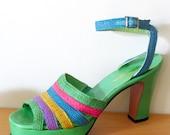 vintage 70s platforms Bonnie Smith for Kimel green multi color rare 7
