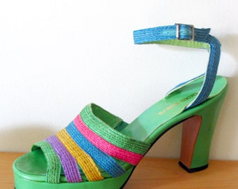 vintage 70s platforms Bonnie Smith for Kimel green multi color rare 7