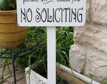 No Soliciting Sign, Garden Sign, Yard Sign, Solicitation Wood Sign, Garden Art