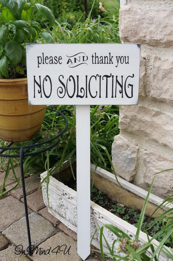 No Soliciting Sign Garden Sign Yard Sign Solicitation Wood