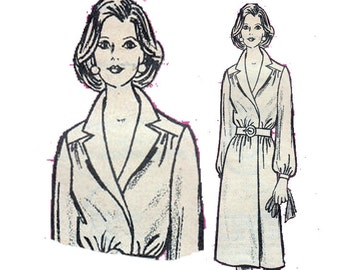 Wrap Dress Vintage 70s Sewing Pattern Notched Collar Career Dress Yoke UNCUT Size 10 Bust 32.5 (82 cm)  Mail Order 9060 - S