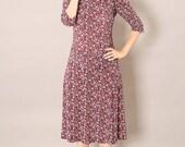 Winter sale - Floral classic dress - Long sleeve dress – Modest midi dress for women