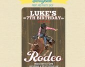 Rodeo Bull Rider Cowboy Birthday Invitation - Printable Western Party Invite