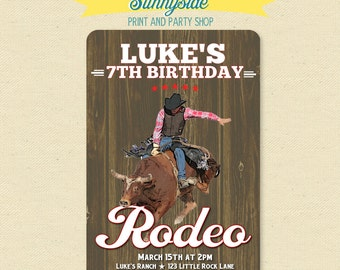Rodeo Bull Rider Cowboy Birthday Invitation - Printable Western Party Invite