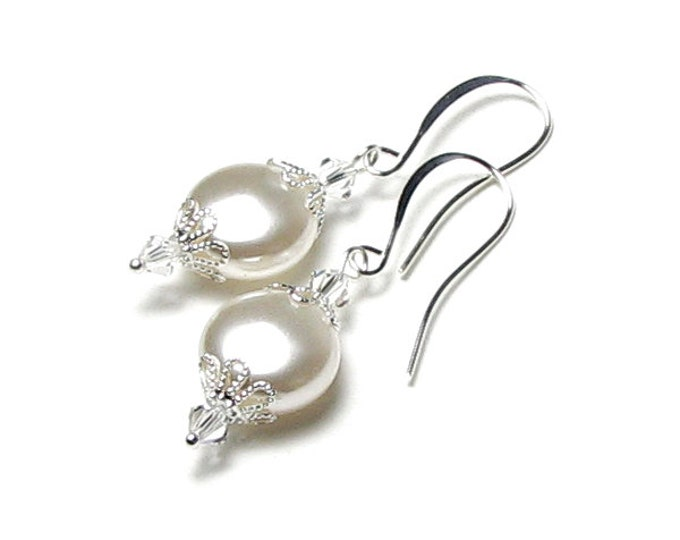 Bridal Earrings, White Satin Swarovski Pearl And Swarovski Crystal Silver Earrings, White Pearl Earring, Romantic White Pearl Bridal Jewelry