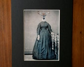 Deer in Dress Art Print, Altered Civil War Portrait, Violet, 5x7 with 8x10 Black Mat, frighten, Matted Print