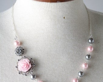 vintage style rose necklace - shabby chic - pearl necklace - pink and grey neckalce - flower necklace - gray and pink - pink rose jewelry