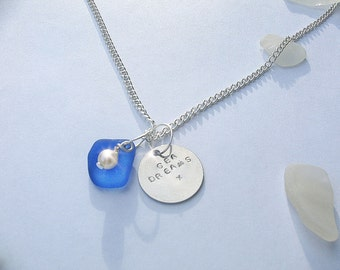 Sea glass necklace. Beach glass jewelry. Hand stamped sea dreams necklace.