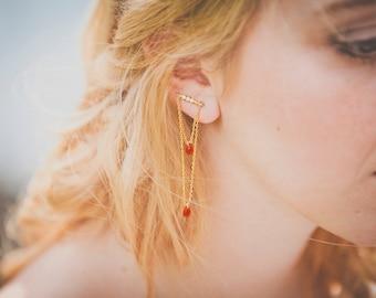 Boucles d'oreilles Calixte - Bijoux d'oreilles cristal rubis et plaqué or 18k - Ornement Art Nouveau Art deco - bijoux indien