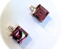 Vintage Sterling Silver Amethyst Earrings Purple Sapphire Estate Earrings Purple Stone Earrings Step Cut Earrings Emerald Cut Earrings