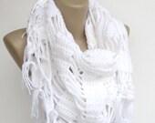 White Crochet Scarf Shawl Wrap Crochet women shawl wrap Winter Accessories For Her Gift Spring Scarf senoAccessory