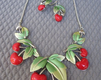 Luscious Red Cherry Necklace Set