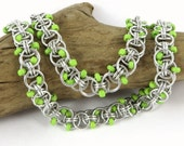 Chainmail Necklace Lime Green Beaded Chainmaille Necklace, Chain Mail Jewelry, Helm Chainmaille