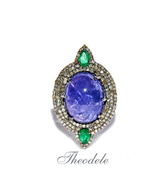 Champagne Tanzanite Tanzanite: Champagne Rose Cut Diamond Tanzanite & Emerald Ring