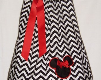 Minnie Mouse Dress / CHEVRON & Red / Disney / Black / White / Newborn / Infant / Baby / Toddler / Handmade / Custom Boutique Clothing