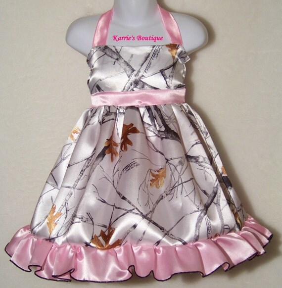 camo flower girl dress pink white satin wedding