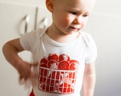 Strawberry Basket 100% Cotton Baby Onesie