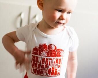 Strawberry Basket 100% Cotton Baby Onesie