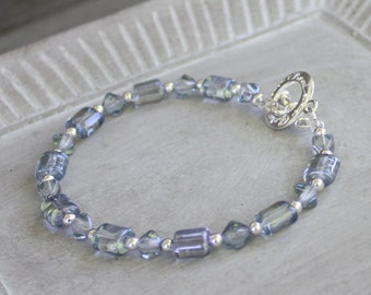 Blue Bead Bracelet - Silver Plated Toggle Clasp bracelet, silver bracelet, blue bracelet, stacking bracelet, silver jewelry, bead bracelet