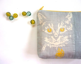 Cat purse, grey yellow pouch, cat lover gift, cosmetic case, linen purse, animal lover, phone purse, iphone, kawaii feline silver