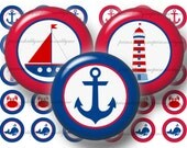 2 Nautical, Bottle Cap Images, Digital Collage Sheets, Instant Download, 1 Inch Circles, Printable, Clip Art, Collage Sheet Red & Blue No.1
