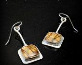 Bezel Set Brown and Tan Cherry Creek Jasper and Sterling Silver Earrings