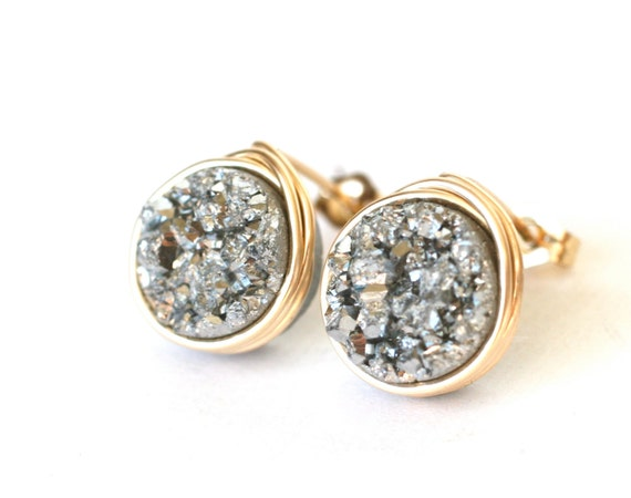 Silver Druzy Stud Post Earrings Gold, Wrenn Jewelry