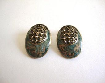 Vintage Enamel Earrings / Sale 75% off / Modernist Oval Earrings / Lattice / Bronze / Turquoise